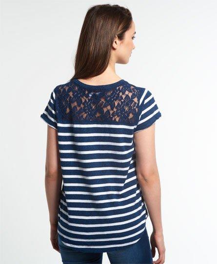 Superdry Super Sewn stripete T skjorte med lomme Dame T