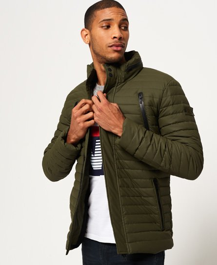 Superdry men\\\'s Rain Racer jacket. Designed to help keep the elements at bay, the Rain Racer jacket features classic panel quilting for warmth and is made from a coated fabric. The jacket fastens with a zip and popper placket as well as having four external pockets, two of which have storm seal zips. Inside the Rain Racer jacket has a fully fleece lined body with a single zipped pocket. The jacket is completed with a Superdry Rain logo badge on the left sleeve. Model wears: Medium Model height: 6
