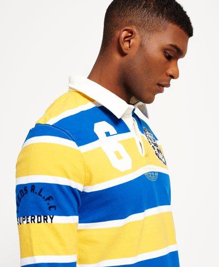 Super Scrum Rugby Shirt In Flyhalf Navy Stripe: Leeds Rhinos Scrum Stripe Rugby Shirt In Cobalt