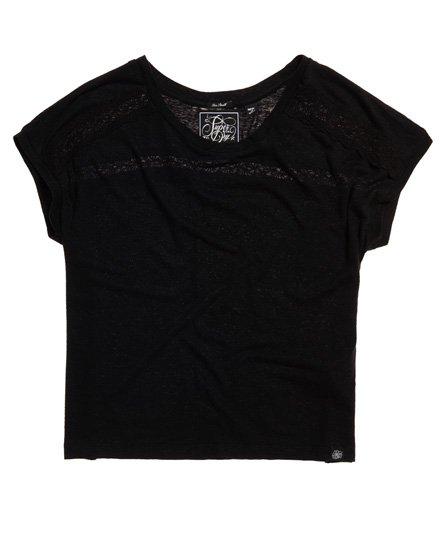 Superdry T-shirt med blondeindsats