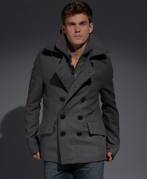 Mens Classic Pea Coat Jacket In, Superdry Classic Pea Coat Navy