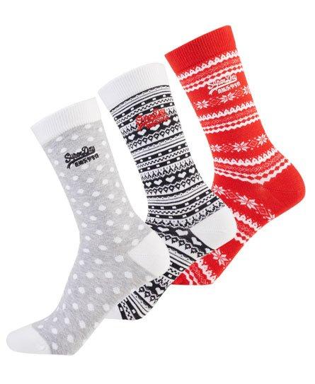 Superdry Lot de trois paires de chaussettes Fairisle