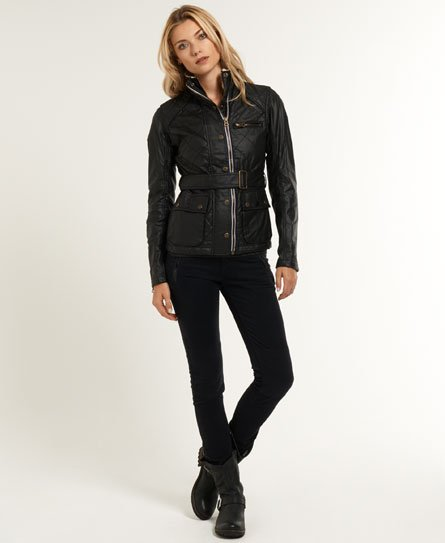 Womens Waxed Flag Trials Jacket In Black Superdry