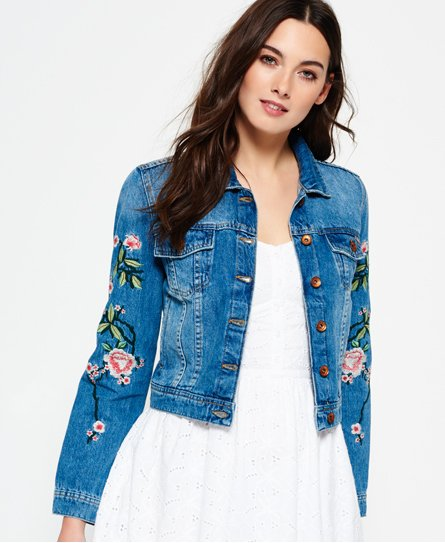 Womens Embroidered Sleeve Denim Jacket In Mid Wash Superdry