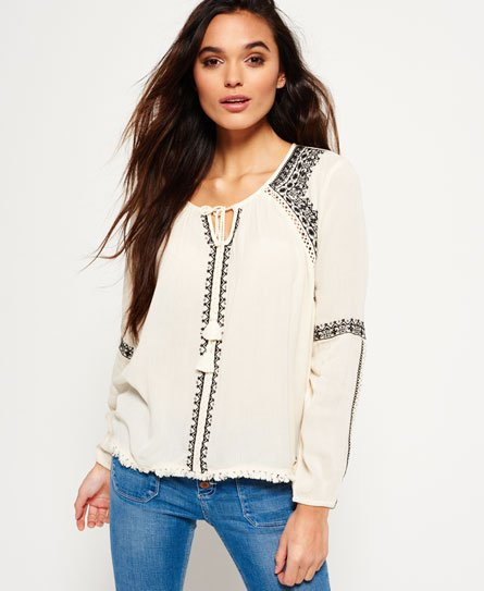 Superdry Diamond Stitch Peasant Top