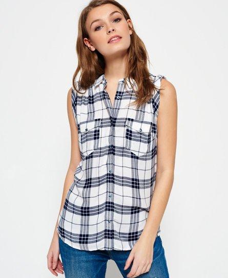 b3a9081ee13c Superdry Camisa sin mangas Boyfriend - Camisas para Mujer