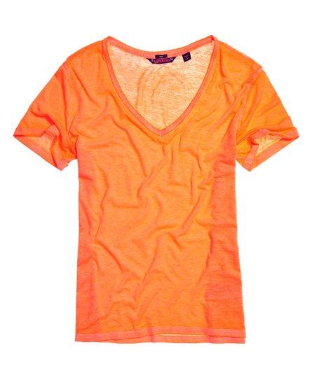 Superdry Damen T-Shirt Mit V-Ausschnitt In Ausbrenneroptik