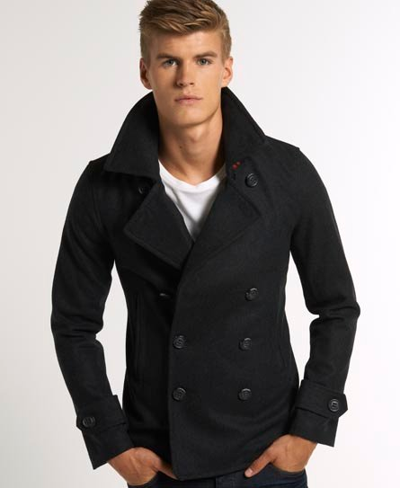 Mens Commodity Slim Pea Coat In Charcoal Superdry