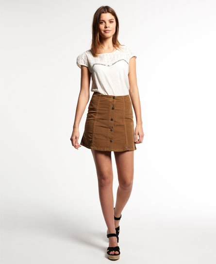 Superdry Corduroy Button Through Skirt