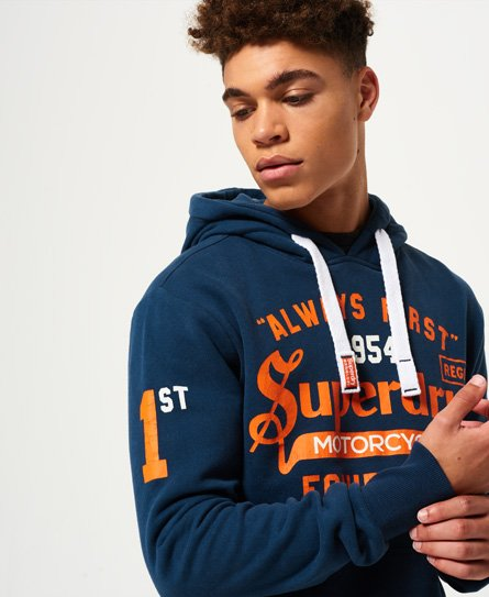 f62a3234 Mens - Always First Hoodie in Gasoline Blue | Superdry
