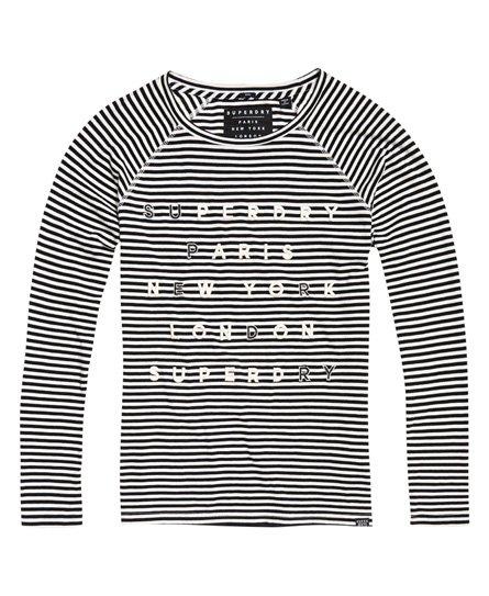 fc28c51a68 Womens - Applique Raglan Top in Black Stripe | Superdry