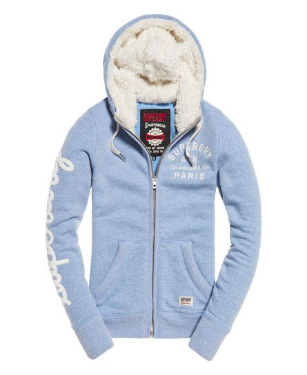 Womens Applique Borg Zip Hoodie In Nordic Blue Snowy