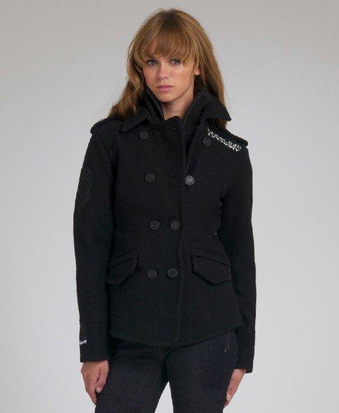 Womens Classic Pea Coat In Black, Superdry Classic Pea Coat Navy