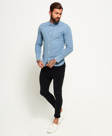Superdry Tailored Long Sleeve Indigo Slim Shirt