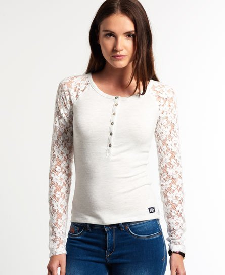 Superdry Super Sewn Lace Sleeve Grandad Top