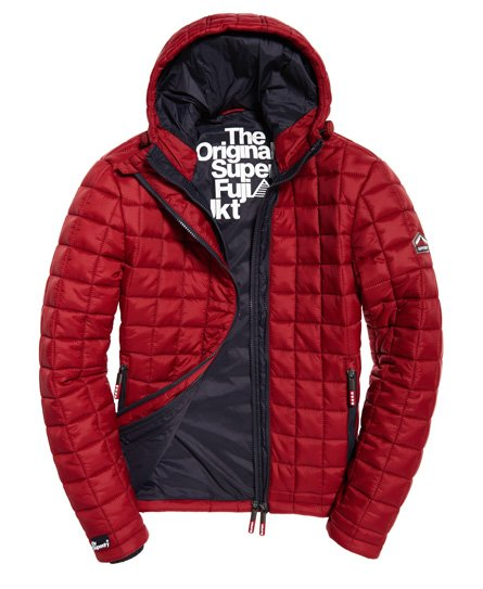 Mens Hooded Box Quilt Fuji Jacket In Wine Red Superdry