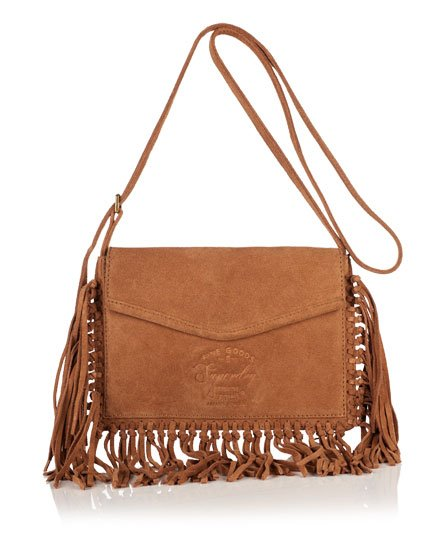 Superdry Premium Suede Neo Nomad Fringed Shoulder Bag