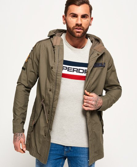 Rookie Mens Superdry Parka Jacket Patched Olive Aged Aviator In BRqARO