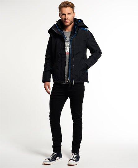 Mens - Pop Zip Hooded Arctic Windcheater Jacket in Black denby Blue ... 689b8b3fc50