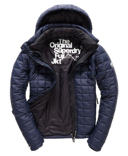 Mens Hooded Box Quilt Fuji Jacket In Ink Superdry