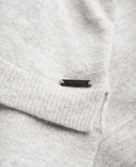 Neuer Damen Superdry Luxe Strickpulli mit V-Ausschnitt Grau Meliert