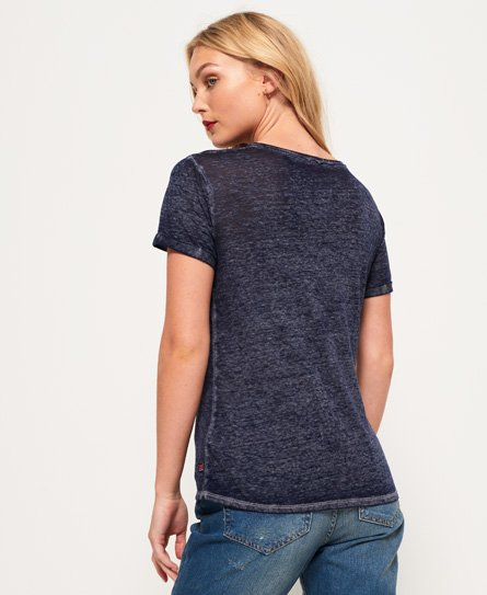 Superdry T-shirt effetto dévoré con scollo a V