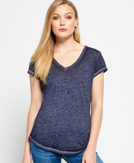 Superdry T-shirt à col V effet dévoré