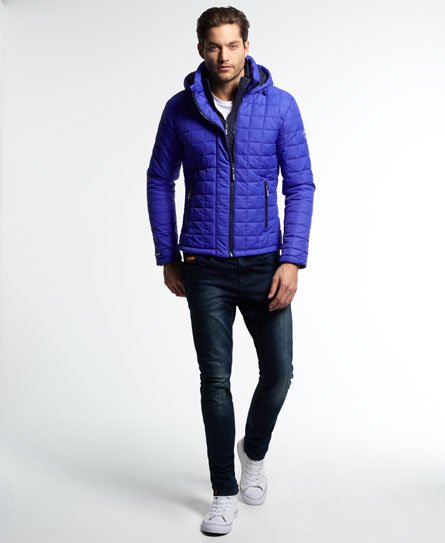 Mens Hooded Box Quilt Fuji Jacket In Royal Blue Superdry