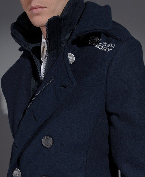 Mens Classic Pea Coat Jacket In Dark, Superdry Classic Pea Coat Navy