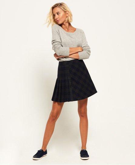 fe3819415 Womens - Josie Pleated Tweed Skirt in Navy Charcoal Check | Superdry