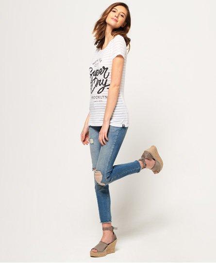 Superdry Gestreiftes NYC T-Shirt in Ausbrenneroptik