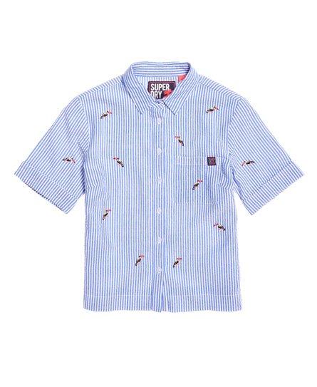 f58125bb4a32 Womens - Kayla Cropped Boxy Shirt in Blue white Stripe