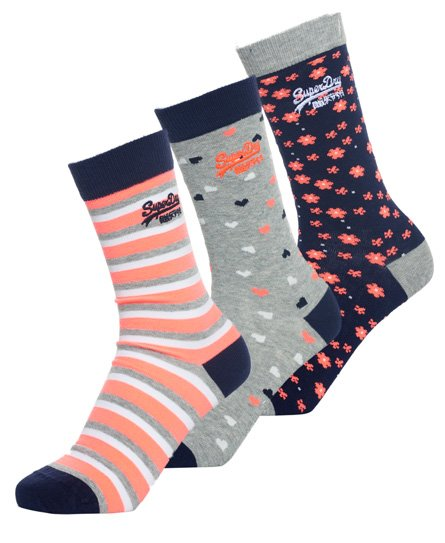 Superdry Lot de trois paires de chaussettes Floral Heart