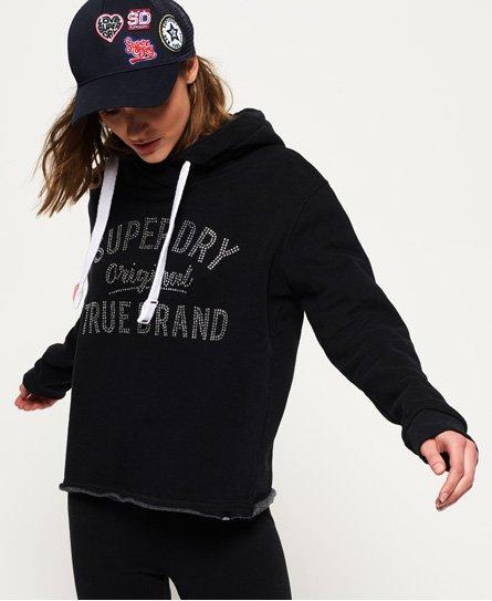 Superdry True Brand Rhinestone Cropped Hoodie