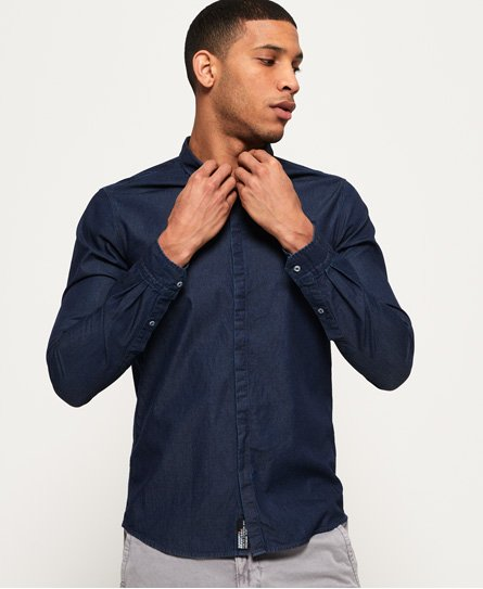 Superdry Indigoblaues Tailored Loom Hemd