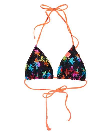 Superdry Haut de bikini triangle à imprimé palmiers arc-en-ciel