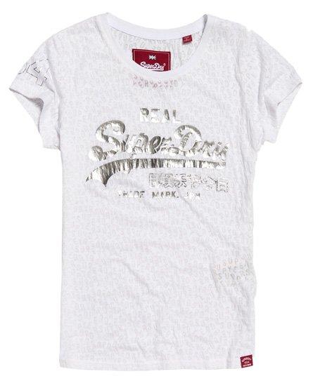 Superdry T-shirt effetto dévoré con logo Vintage