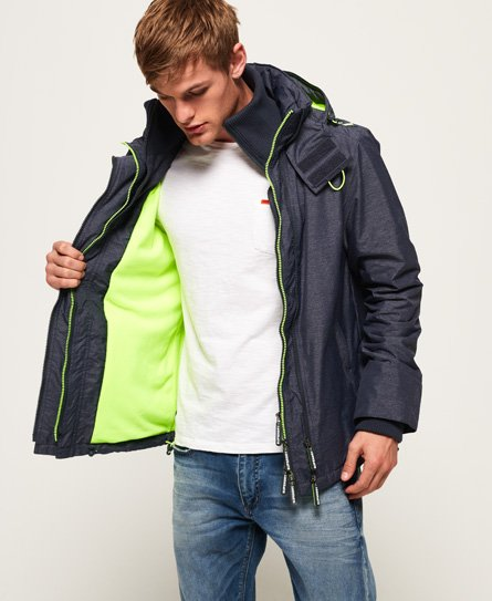 ae220e5cc Mens - Arctic Hooded Pop Zip SD-Windcheater Jacket in Navy Marl/lime ...