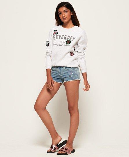 Neue Damen Superdry Denim Hot Shorts Tropical Khaki