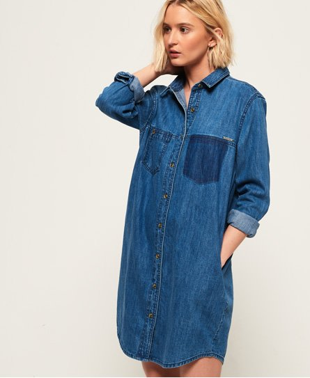 Superdry Oversized skjortekjole i denim