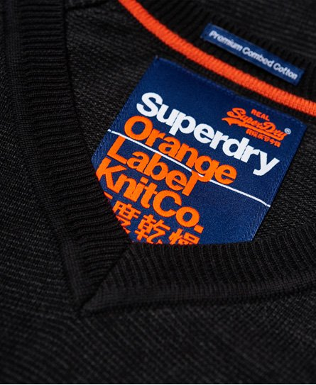 Superdry Pull en coton et à col en V Orange Label