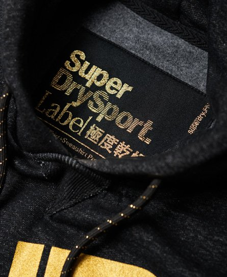Superdry Diagonal Hoodie in Schwarz und Gold