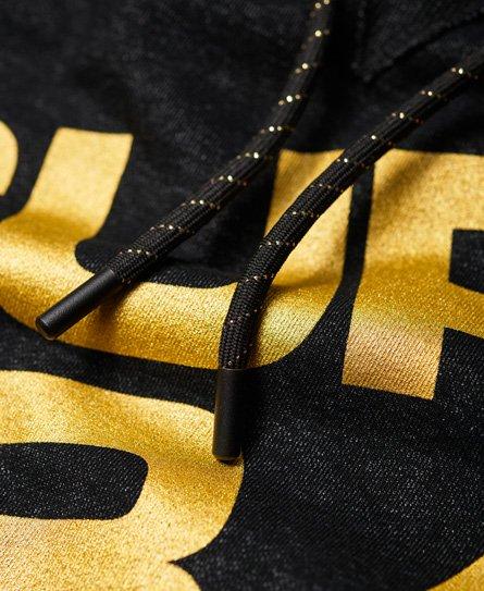 Superdry Diagonal Black And Gold Hoodie