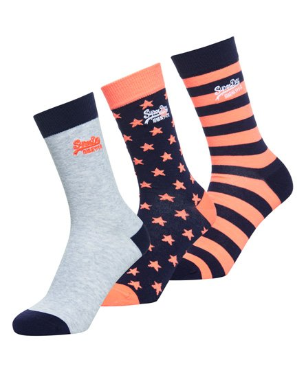 Superdry Fluro Star Mix Triple Pack Socks