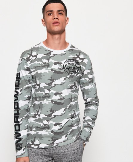 Superdry Worldwide Ticket Type Camo Long Sleeve T-Shirt