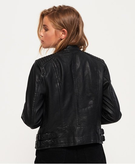 Veste en cuir Thea Racer Noir | Superdry Femme Vestes en