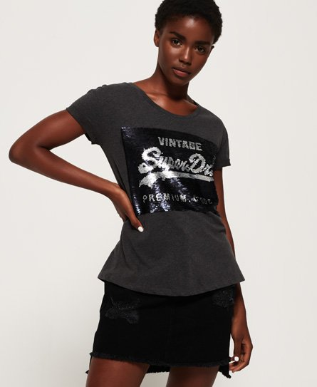 Superdry T-shirt coupe boyfriend slim Premium à sequins
