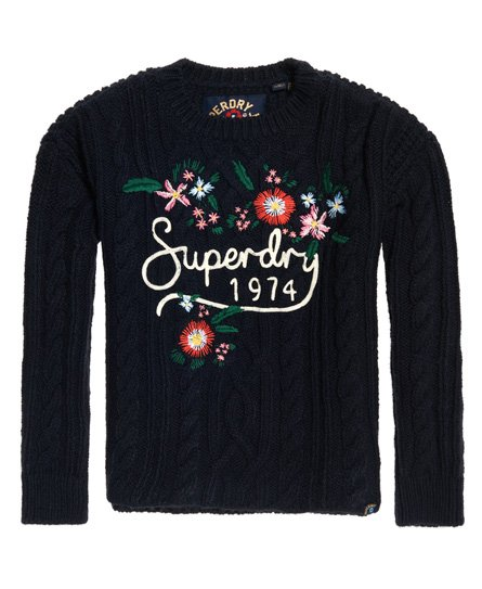Knit Cable Superdry Handcraft Jumper Floral CBxqF