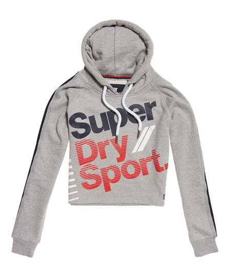Superdry Felpa con cappuccio Diagonal Speed Sport Cropped