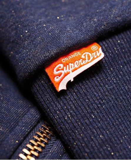 Superdry Felpa con zip, cappuccio e fodera Borg effetto luccicante
